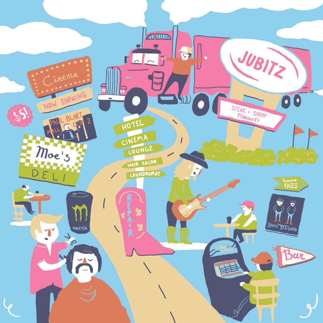 Disneyland for Truckers digital illustration  Erika Schnatz