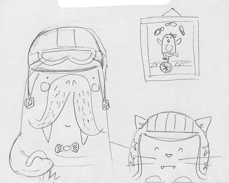 Gentleman Walrus Sketch Erika Schnatz