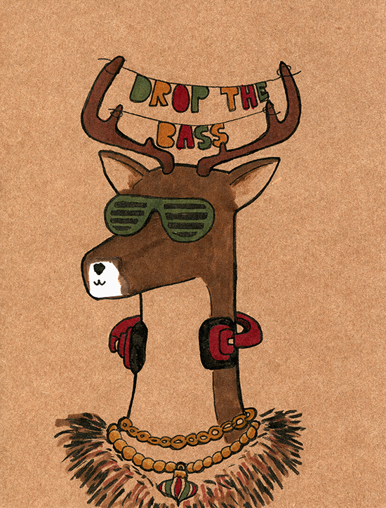 DJ Reindeer Card Erika Schnatz