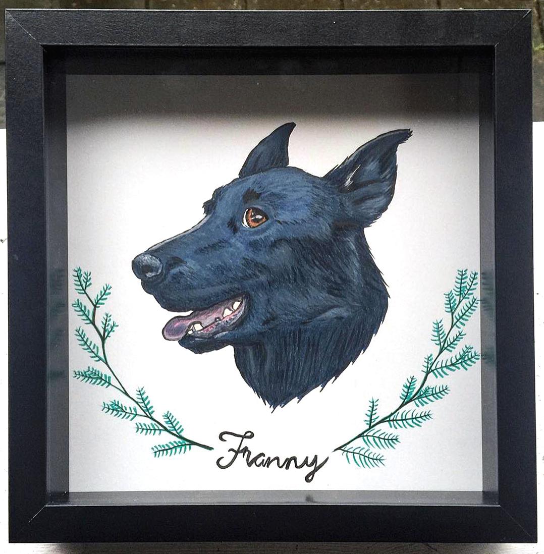 Framed color pet portrait